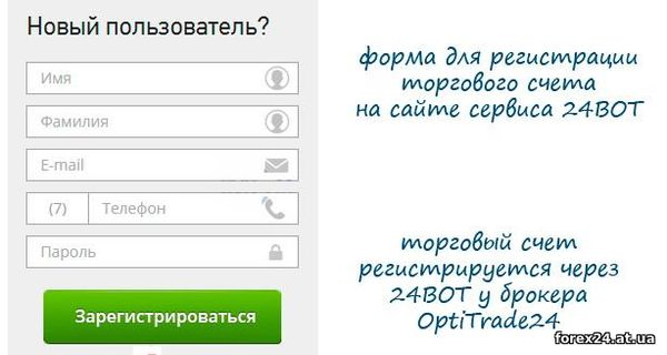 Registration on the website 24BOT