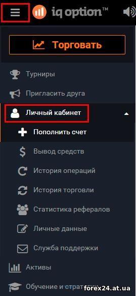 Sections account IQ Option